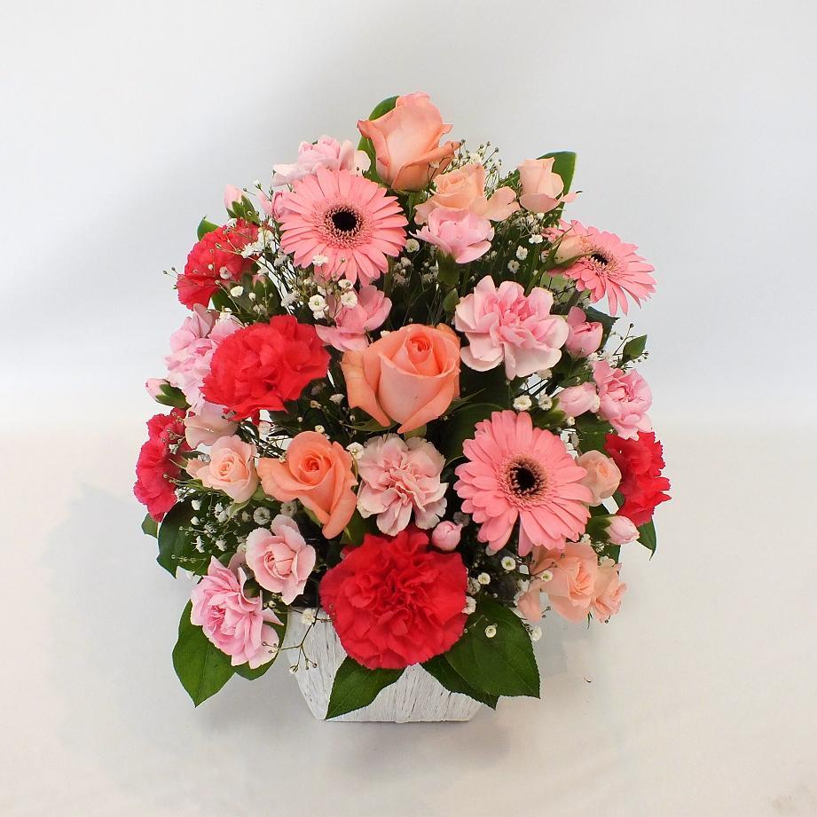 母の日用限定 アレンジメント 赤ピンク系